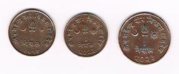/ NEPAL 2 X 5 EN 10 PAISA  2014/2022/2023 ( 1957/1965/1966 ) - Nepal