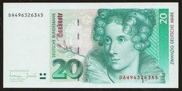 20 DM Deutsche Mark 1993 UNC Kassenfrisch - 20 Deutsche Mark