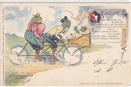 Frösche Auf Dem Tandem - Radlerlust - Signiert - 1900   (190626) - Tierwelt & Fauna