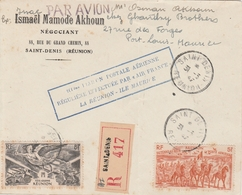 Réunion Lettre Aviation Pour L'Ile Maurice 1947 - Covers & Documents