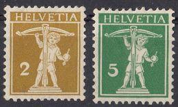 HELVETIA - SUISSE - SVIZZERA - 1910 - Lotto Di 2 Valori Nuovi MH: Yvert 134 E 136. - Nuovi
