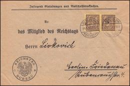 33 Dienstmarke Als MeF Auf Drucksache BERLIN REICHSTAG 24.1.1923 - Briefmarken