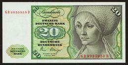 20 DM Deutsche Mark 1980 About UNC Fast Kassenfrisch - 20 Deutsche Mark