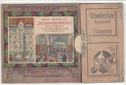 Stuttgart - Restaurant Schwabenburg - Klappkarte Mit Grüssen Vom Schwabenbräu - 1905        (A-92-180613) - Stuttgart