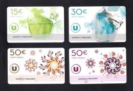 4 Carte Cadeau Super U  TREGUIER  (22).   Gift Card.  Geschenkkarte - Cartes Cadeaux