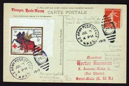 FRANCE(Croix Rouge) Bureau Postal Américain En France N° 753, Suite De La Guerre 1914/18............... - Storia Postale