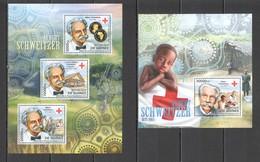 BC069 2012 GUINEE GUINEA FAMOUS PEOPLE ALBERT SCHWEITZER RED CROSS 1KB+1BL MNH - Albert Schweitzer