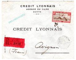 Lettre Envoyée D' EGYPTE  Poste Aérienne En Recommandé 1939 Du CAIRE En Avignon - Storia Postale