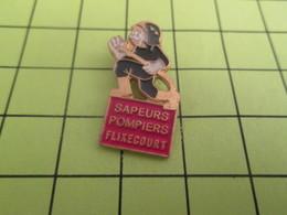 1518c Pin's Pins / Beau Et Rare : THEME POMPIERS / SAPEURS POMPIERS DE FLIXECOURT - Brandweerman