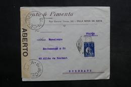 PORTUGAL - Enveloppe Commerciale De Villa Nova De Gaya Pour La France Avec Contrôle Postal - L 34045 - 1910-... République