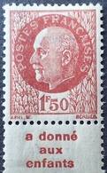"""R1591/19 - 1941 - PETAIN - N°517a BdF NEUF* Avec Bande Publicitaire """" A Donné Aux Enfants """" - Advertising"""