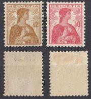 HELVETIA - SUISSE - SVIZZERA - 1909 - Lotto Di 2 Valori Nuovi MH: Yvert 131 E 132. - Nuovi