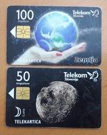 SLOVENIA Planet Eart Moon  Phonecard 100 & 50 Impulz - Slovenia