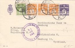 DÄNEMARK 1933 - 7 Ö Ganzsache + 4 Fach Zusatzfrankierung Auf Firmenpostkarte Gel.n.Hamburg - Briefe U. Dokumente