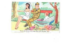 Cpa MILITARIA HUMOUR - Illustration René Caille - Soldat Femme Pin'up Mariée Bébé Landau - Jouet Train - Gamelle - Humor