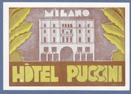 Hotel Puccini Milano Italy Italia- Vintage Original Hotel Label - Adesivi Di Alberghi