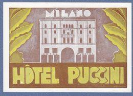 Hotel Puccini Milano Italy Italia- Vintage Original Hotel Label - Hotel Labels