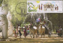 Myanmar 2019 Traditional New Year — Thingyan Water Festival Maximum Card - Myanmar (Burma 1948-...)
