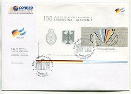 ARGENTINA - ALEMANIA, 150 AÑOS DE RELACIONES BILATERALES. AÑO 2007 SOBRE PRIMER DIA ENVELOPE FDC - LILHU - Sin Clasificación