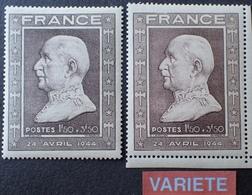 R1591/28 - 1944 - PETAIN - N°606 Brun + N°606a Brun Rosé TIMBRES NEUFS ** - Errors & Oddities