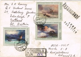 33300. Carta Aerea Certificada MOSCU (Rusia) 1967 To Scotland. Shet Complet Pintura Rusa - 1923-1991 URSS