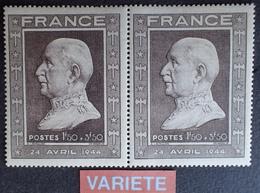 R1591/29 - 1944 - PETAIN - PAIRE N°606 TIMBRES NEUFS** - VARIETE ➤➤➤ Timbre Brun Clair Tenant à Timbre Brun Foncé - Errors & Oddities