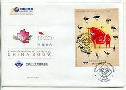 ARGENTINA - EXHIBICION MUNDIAL DE FILATELIA, CHINA AÑO DEL BUFALO. AÑO 2009 SOBRE PRIMER DIA ENVELOPE FDC - LILHU - Astrología