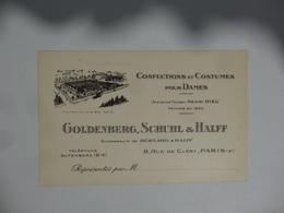 ANCIENNE CARTE DE VISITE  CONFECTIONS ET COSTUMES - Cartoncini Da Visita