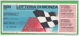 Lotteria Di Monza 1969 Biglietto Serie AA  Lottery Tickets Billets De Loterie - Biglietti Della Lotteria