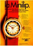 """PUB MONTRE   """" LIP """"   """" MINILIP  """"  1970 ( 1 ) - Bijoux & Horlogerie"""