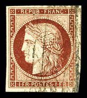 N°6B, 1f Carmin-brun Obl Grille Sans Fin. TB (signé Calves/Margues/certificats)  Qualité: O  Cote: 1100 Euros - 1849-1850 Ceres