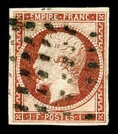 N°18, 1F Carmin Obl Gros Points Carrés, TTB (signé Calves/certificat)  Qualité: O  Cote: 3500 Euros - 1853-1860 Napoléon III