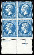 N°22, 20c Bleu En Bloc De Quatre Bdf Avec Croix De Repère. SUP (signé Calves/certificat)  Qualité: ** - 1862 Napoleon III