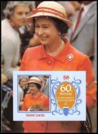 915 Saint Lucia (sainte Lucie) MNH ** Bloc 1986 Queen Mother Elizabeth Non Dentelé (imperforate) - Royalties, Royals