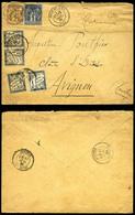 1c +2c Sage (N°83 Et 85) Sur Lettre De Dôle Du Jura Taxée à 27 Centimes (Txe N°10, 12x2 Et 17) Pour Avignon. TTB (certif - Marcophilie (Lettres)