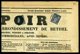 N°83, 1c Sage (2ex), Affr à 2c Sur Bandeau De Journal 'L'espoir De Rethel' Du 3.04.1879: Près Affranchissement Typo Pour - 1849-1876: Periodo Clásico