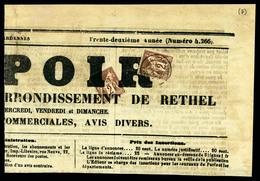 N°85, 2c Sage (2ex), Affr à 4c Sur Bandeau De Journal 'L'espoir De Rethel' Du 18.04.1878: Près Affranchissement Typo Pou - Marcophilie (Lettres)