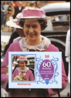 921 Montserrat Scott MNH ** N°# 604 1986 115x85mm (petit Format) Queen Mother Elizabeth Non Dentelé (imperforate) - Royalties, Royals