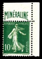 N°188A, Minéraline, 10c Vert Cdf, TB (certificat)  Qualité: *  Cote: 500 Euros - Francia