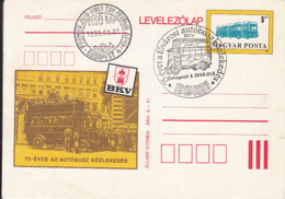 TRANSPORT, BUSSES, BUDAPEST PUBLIC BUSSES, PC STATIONERY, ENTIER POSTAL, OBLIT FDC, 1990, HUNGARY - Bussen