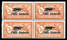 N°1a, 2F Orange Et Vert-bleu, Coin De L'écusson Cassé Tenant à Normaux En Bloc De Quatre, Fraîcheur Postale, SUPERBE. R. - Airmail