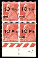 N°3d, Berthelot, 10F Sur 90c Rouge, 2 Paires Surcharges Espacées Tenant à Normales En Bloc De Quatre Bas De Feuille, Bon - 1927-1959 Mint/hinged