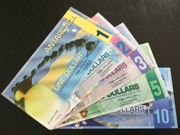 ANTARCTICA SET 1 2 3 5 10 DOLLARS BANKNOTES 2008-2009 UNC - Banknotes