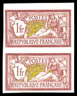 N°121a, Merson, 1F Lie De Vin Et Olive Papier GC En Paire Non Dentelée (1ex*), TTB (certificat)  Qualité: **  Cote: 825 - Variétés: 1900-20 Neufs