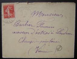 Loudun (Vienne) Petit Cachet F2 Sur Lettre De 1908 Pour Firmin Barbier Receveur D'octroi Champ Du Pain Béni - Marcophilie (Lettres)