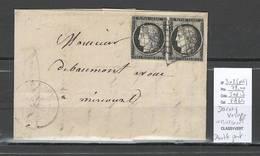 France -Lettre De DARNEY - Vosges - 1849 - Paire Du No 3 Ceres 20 Centimes Pour Mirecourt - Marcophilie (Lettres)