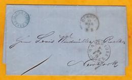 1871 - LAC En Anglais De Genova, Italia Vers New York, USA Par Le Service Cunard Line Italie-USA Sur RMS Calabria - Marcophilie