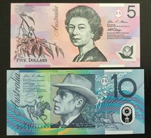 AUSTRALIA SET 5, 10 DOLLARS BANKNOTES 2007-2008 UNC POLYMER - Emisiones Gubernamentales Decimales 1966-...