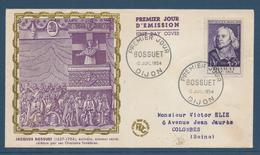 France FDC - Premier Jour - Jacques Bossuer - Dijon - 1954 - FDC