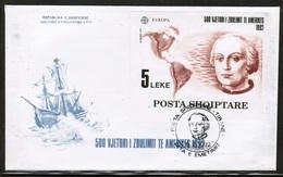 CEPT 1992 AL MI BL 97 ALBANIA FDC - 1992